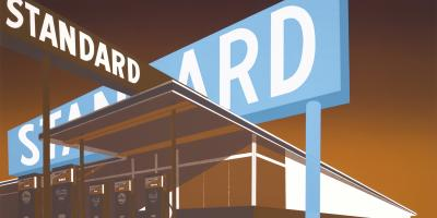 Ed Ruscha, Double Standard, 1970. UBS Art Collection ©Ed Ruscha. Courtesy of the artist and Gagosian.